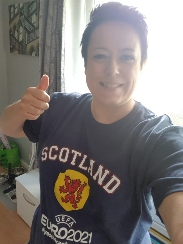 Gail wore her Scotland Euros 2021 top in support!