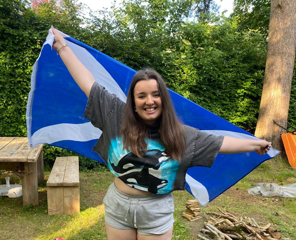 Niamh being very patriotic with her Scotland flag!